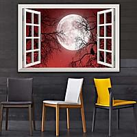 Bức tranh 3D dán tường cửa sổ BÌNH MINH- HOÀNG HÔN 2 lựa chọn bề mặt cán PVC gương hoặc cán bóng kính, ms: 00402043L11