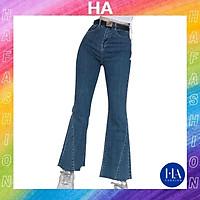 Quần Jean Nữ Ống Loe Lưng Cao H&A Fashion Chất Jean Trơn Màu Xanh TBQJN07