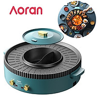Bếp lẩu nướng đa năng cao cấp Aoran, công suất 2200W - Chất liệu cao cấp chống dính - HÀNG NHẬP KHẨU