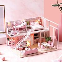 Nhà búp bê barbie bằng gỗ lắp ghép có nội thất và đèn như hình L027 Tặng Mica Tặng kèm keo dán,dụng cụ lắp ghép, mica