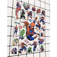 Set 2 bảng Sticker hình dán siêu nhân , người nhện Nổi 3D