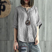 ZANZEA Women Stripe Batwing Shirt Tops V Neck Casual Oversize T-Shirt Blouse