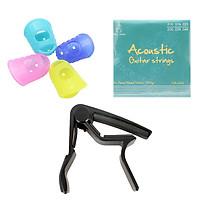 Combo dây đàn guitar acoustic Vines GA-A30 + Capo PBA105BK  + Bộ 4 móng bảo vệ móng tay (SOL.G)