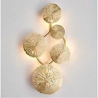 Đèn gắn tường trang trí hình chùm lá sen vàng cao cấp
