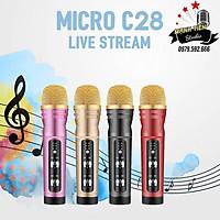 Micro thu âm C28 Bản nâng cấp có Bluetooth - micro cao cấp livestream, thu âm, karaoke online không cần soundcard - Tích hợp autotune - Tương thích với mọi điện thoại thông minh - kèm tai nghe nhét tai - Giao màu ngẫu nhiên