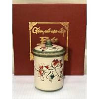 Cốc sứ uống nước uống trà có nắp vẽ hoa đào gốm bat trang ( Giao màu ngẫu nhiên)