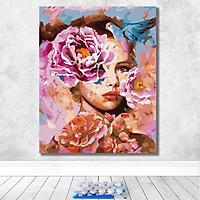 Tranh sơn dầu số hoá tự tô đã căng khung mỹ nữ hoa mẫu đơn