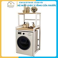 Kệ máy giặt 2 tầng cửa trước KMG03N thương hiệu 9House kệ để đồ trên máy giặt loại khung thép dày dặn sơn tĩnh điện chống bong tróc, gỗ lõi xanh phủ melamine chống nước cực bền, Sản xuất tại Việt Nam - Hàng chính hãng