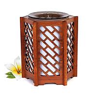 Đèn xông tinh dầu chất liệu Gỗ phong cách cổ điển KAZU KZ89 tỏa hương thơm trang trí nội thất nhà cửa tặng kèm tinh dầu Bạc Hà 10mL