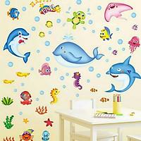 Decal dán tường bé thế giới cá đại dương ngộ nghĩnh