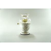 Đèn dầu thờ cúng gốm sứ bạch ngọc cúng Phật đốt dầu lưu ly dầu hỏa viền mạ vàng - Nhiều cỡ