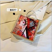 Túi Cói Vintage Đi Biển Phong Cách Hàn Quốc Hoạ Tiết 21x21