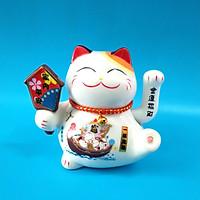 Mèo thần tài bằng sứ cao 16cm xài pin hoặc điện