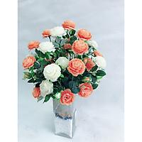 Bình hoa trà gam trắng cam lụa nghệ thuật phong cách trang nhã tô điểm không gian