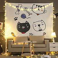 Tranh vải treo tường B&W TV24 - CATS Marytexco décor nhà cửa, phòng ngủ, phòng trọ sinh viên KT 150*130cm TẶNG kèm 4 đinh + 4 kẹp + ĐÈN LED USB 6M