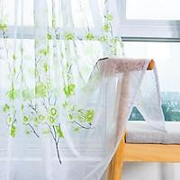 Peach Blossom Print Window Curtain for Living Room Bedroom Translucent Curtain