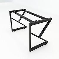 Chân bàn sắt chữ K sơn tĩnh điện màu đen 1200x580x730mm lắp ráp