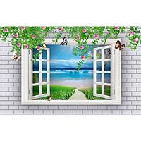Tranh dán tường 3D cửa sổ con đường cảnh biển - vải lụa phủ kim sa