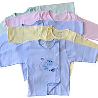 Combo 5 áo sơ sinh tay dài cài lệch màu nhạt JOU