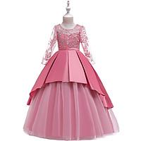 Đầm dạ hội bé gái Quảng Châu cao cấp cho bé gái trên 6-12 tuổi - QC21 HỒNG PASTEL