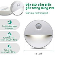 Đèn LED gắn tường cảm biến chuyện động thông minh dùng Pin gắn tường cầu thang, đèn găn tủ quần áo, gầm giường GIao ngẫu nhiên Ánh sáng trắng và ánh sáng vàng