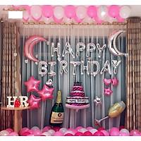 Set Bóng Trang Trí Sinh Nhật Happy Birthday  Màu Hồng+ bóng nhũ+ bóng TIM sao