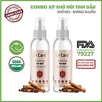 Combo 2 chai Xịt Phòng Tinh Dầu Quế Hữu Cơ Organic 24Care 100ML/Chai - Kháng khuẩn - Khử mùi hôi - Đuổi muỗi - côn trùng - Hương thơm thư giãn.