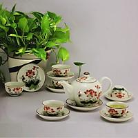 Bộ ấm chén men kem hoa sen đỏ gốm sứ Bảo Khánh Bát Tràng (bộ bình uống trà, bình trà)