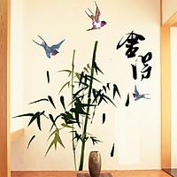 Decal dán tường cây tre phong thủy trang trí phòng sang trọng