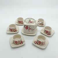 Bộ ấm trà/ bộ bình trà vuông vẽ hoa mai