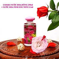 COMBO CẶP ĐÔI Nước hoa hồng Bulgaria thương hiệu Lema 250ml nắp đổ và nước hoa tinh dầu hoa hồng 2.1ml