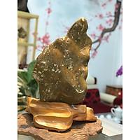 Đá Phong Thủy Mã Não-Can Thạch Vàng Xanh - Đế Gỗ Cà Te - Xuất Xứ: HBông Chư Sê, Gia Lai - KT: 53*40*5cm (Tính cả đế) - TL: 11.5kg - Trang Trí Nhà Cửa - Đá & Gỗ - D1