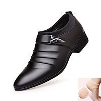 Giày Da Nam - Giày Tây Nam Công Sở - Kiểu Dáng Đơn Giản, Sang Trọng Với Điểm Nhấn Là Phần Chun Ôm Cổ Chân - Chất Liệu Cao Cấp, Bền Đẹp - GTN-05 - Full Size - [ Kèm 1 Đôi Lót Bảo Vệ Gót Chân ]