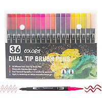 72 Colors Dual Tip Brush Pens Art Markers Set Brush and Fine Tips Colored Pens for Children Adults Artists Drawing