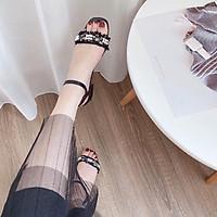 Sandal Quai Vải Đính Ngọc Siêu Sang Kèm Tất/Vớ Da Chân