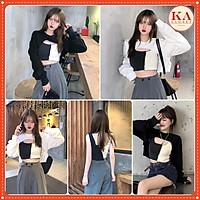 set áo croptop KA Closet 2 món áo ngoài + áo trong mặc được 2 kiểu chất zip cotton dầy mịn co dãn mềm