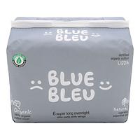 Băng Vệ Sinh Ban Đêm Blue Bleu Từ Sợi Bông Hữu Cơ Và Tinh Dầu Cây Bách Mỏng, Có Cánh (43cm)