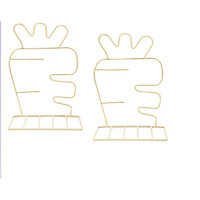 Giá Chặn Sách Kim Loại Để Bàn Hình Cà Rốt - Màu Vàng (Bộ 2 Cái)