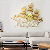 Đồng Hồ Treo Tường Trang Trí Thuyền Buồm Vàng Kim Trôi B68 Nghệ Thuật Cao Cấp Shouse hiện đại 3D kích cỡ lớn đẹp treo phòng khách