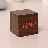 Đồng hồ LED để bàn hình hộp gỗ - Nhiệt kế - Báo thức - Cảm ứng âm thanh