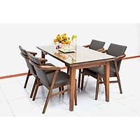 Bộ bàn ăn 4 ghế Nội Thất Nhà Bên NAN 13 141 x 81 x 72cm (Nâu)