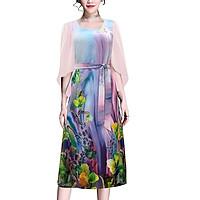 Đầm Suông Tay Cánh Tiên Cành Hoa Trắng Kiểu Đầm Thời Trang Trung Niên Dự Tiệc Nhiều Size ROMI 3265 - TÍM HOA 3327 - M 48-53KG