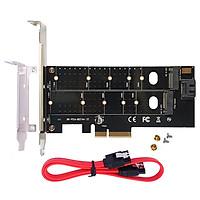 Adapter gắn SSD M.2 NVMe và M.2 SATA kèm cáp SATA cho máy tính để bàn