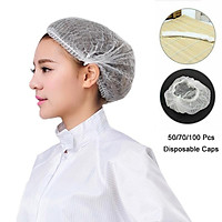 100/70/50X Shower Caps Anti Dust Hat Elasticated Hair Nets Spray Tanning Cap Catering Non-woven Protection Mushroom Cap