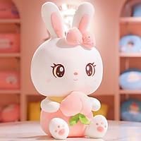 Gấu bông thỏ trắng ôm đào dễ thương kích thước 40-55cm