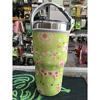 Túi xách cho ly giữ nhiệt 900ml mẫu nai xanh lá