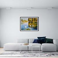 Tranh canvas phong cách màu nước (watercolor) - Gia đình thiên nga - WT018