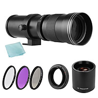 Camera MF Super Telephoto Zoom Lens F/8.3-16 420-800mm T Mount + UV/CPL/FLD Filters Set +2X 420-800mm Teleconverter Lens