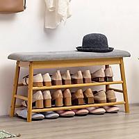 Kệ để giày dép kiêm ghế ngồi bằng gỗ tre Ronald