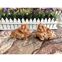 Cặp Tỳ Hưu phong thủy đá cẩm thạch vân gỗ - Dài 13 cm
